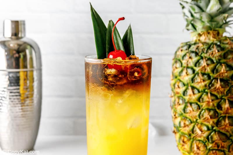 homemade PF Chang's Chang Mai Tai, cocktail shaker, and pineapple