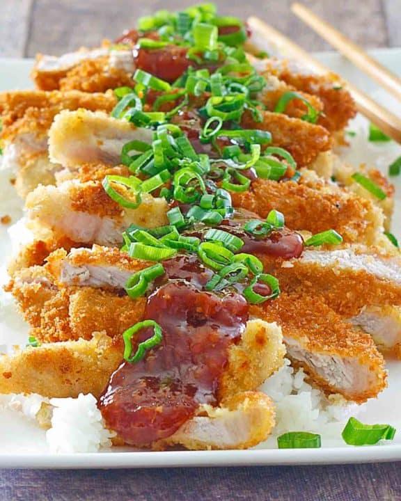 pork katsu and rice on a platter