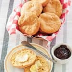 sour cream biscuits on a plate and in a basket
