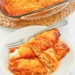sour cream chicken enchiladas in a baking dish and on a plate