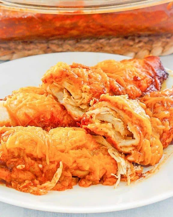 sour cream chicken enchiladas on a plate