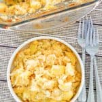 overhead view of squash casserole in a bowl and baking dish