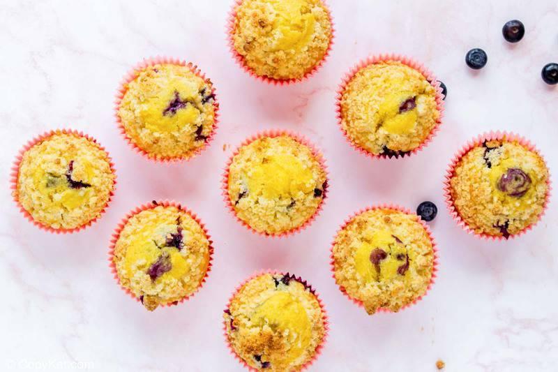 nine homemade Starbucks blueberry muffins
