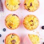 six homemade Starbucks blueberry muffins