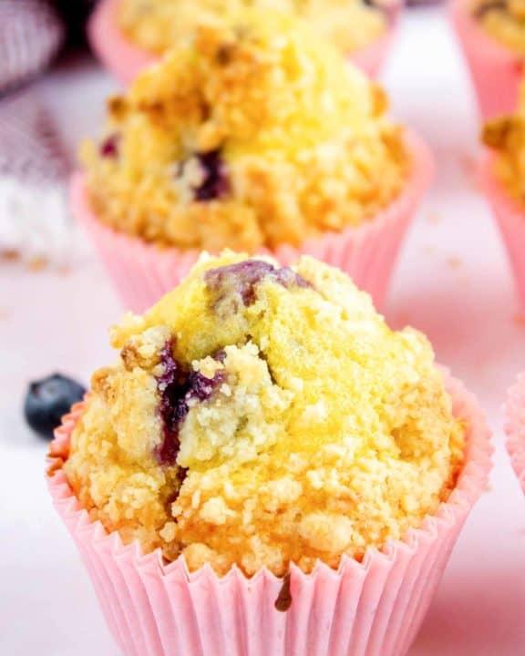 three homemade Starbucks blueberry muffins