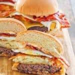 breakfast burgers on a board
