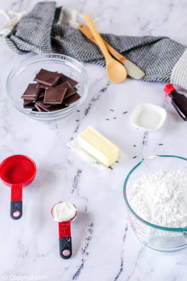 Ingredients to make homemade York Peppermint Patties