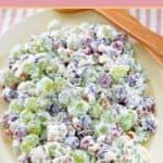 a bowl of creamy grape salad