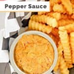 a bowl of creamy pepper sauce with french fries