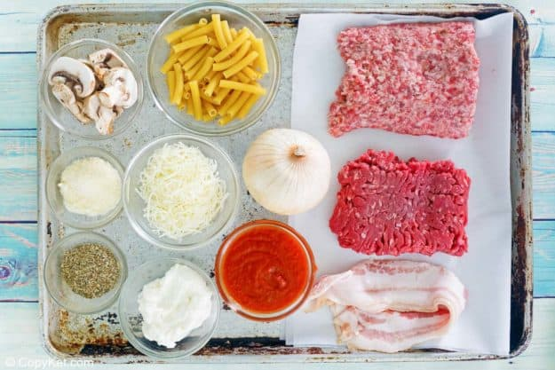 Baked ziti ingredients on a tray