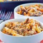 baked ziti in bowls and baking dish