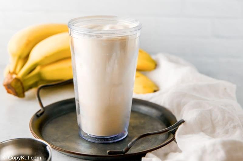 blended banana milkshake in a glass