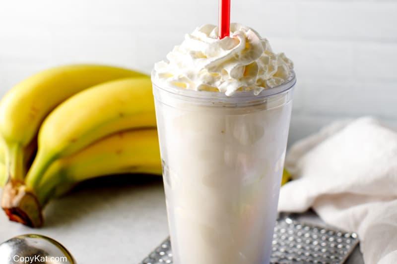 homemade Fatburger banana milkshake and a bunch of bananas