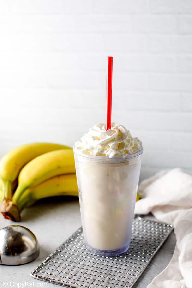 banana milkshake and bananas