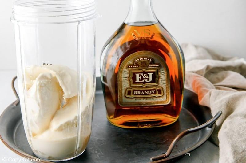 add brandy to ice cream in a blender
