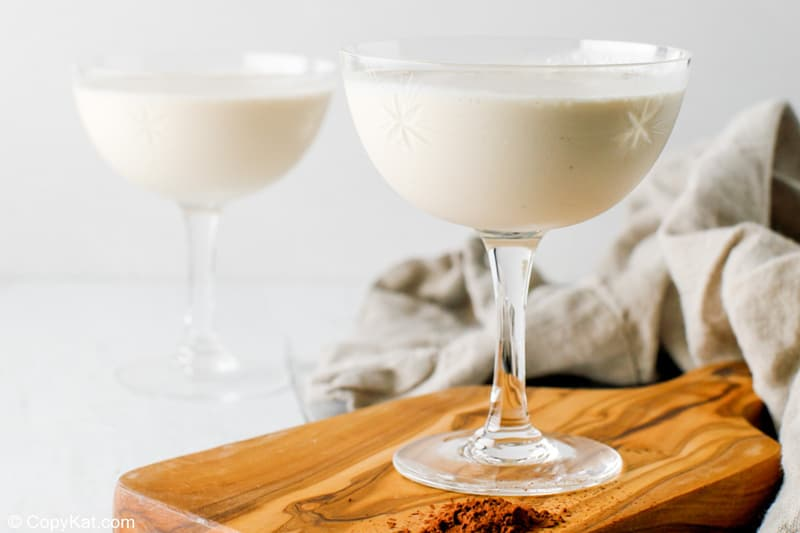 two glasses of Brandy Alexander cocktail made with ice cream