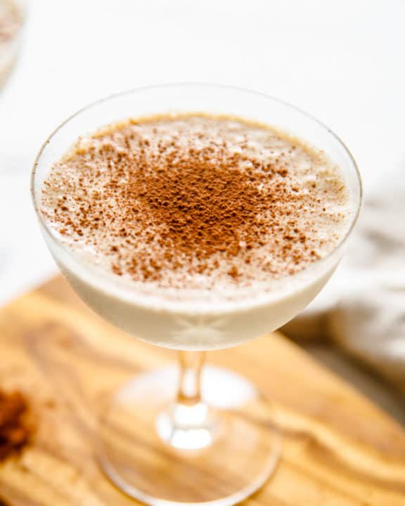 Brandy Alexander made with ice cream in a glass