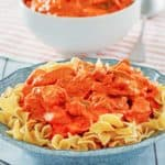 a bowl of chicken paprikash with noodles and a fork
