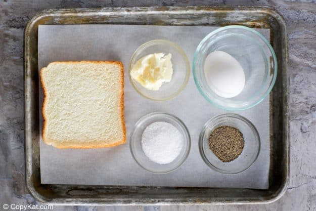 Cracker Barrel Egg in a Basket ingredients on a tray