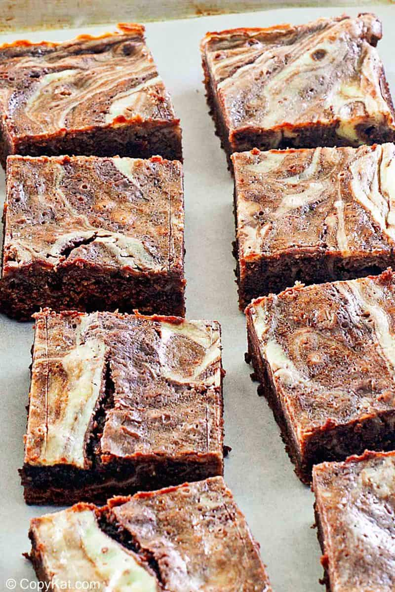 cream cheese brownies on parchment paper