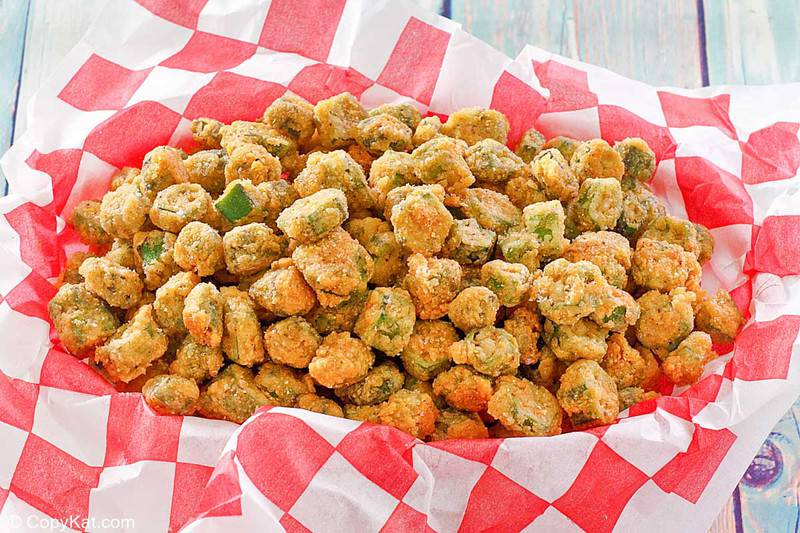 southern fried okra on parchment paper