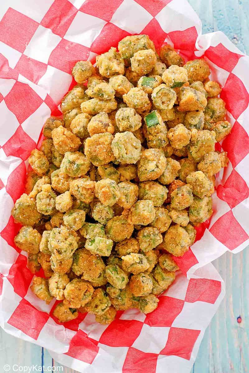 overhead view of fried okra on parchment paper