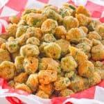 a basket of fried okra