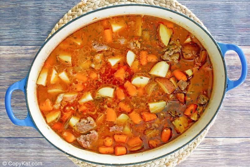 lamb stew in a Dutch oven