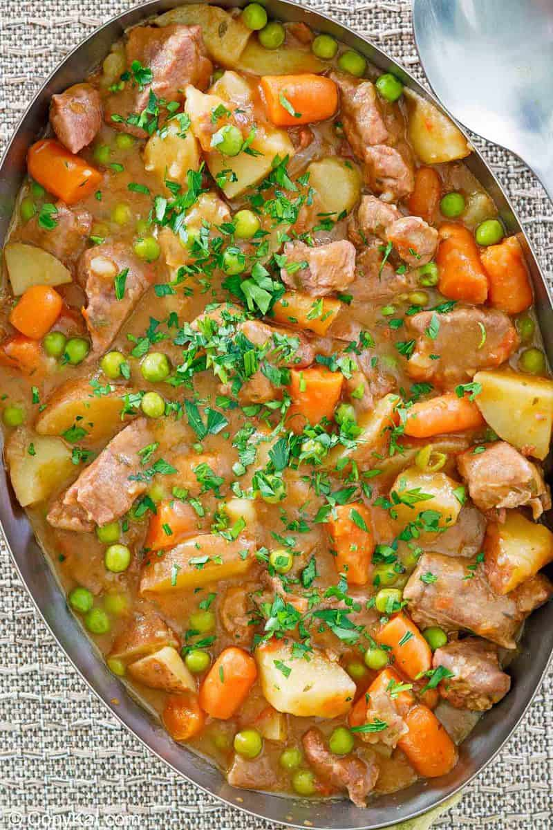overhead view of lamb stew in a pan