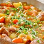 lamb stew in a pan