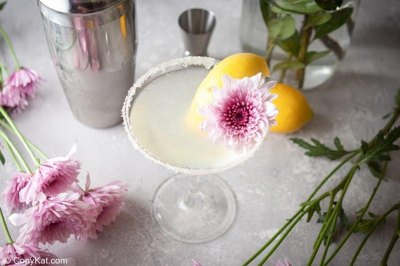lemon drop martini and flowers