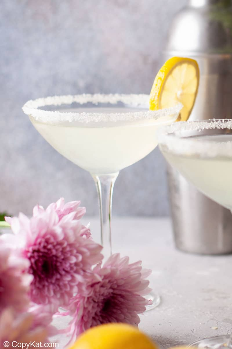 lemon drop martini garnished with a lemon slice