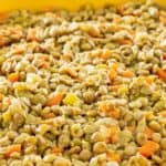 cooked lentils with vegetables in a serving dish