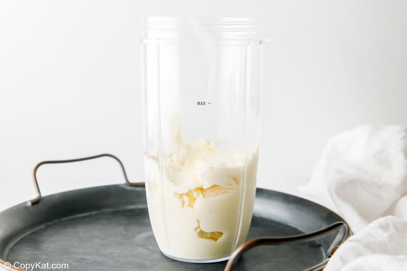 ice cream in a blender container