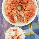 overhead view of monkey bread on plates