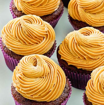 peanut butter frosting on chocolate cupcakes
