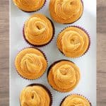 peanut butter frosted cupcakes on a platter