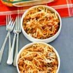 spaghetti casserole in two bowls