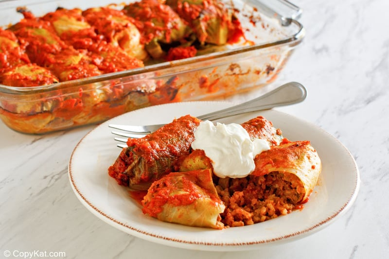 stuffed cabbage rolls and a fork on a plate
