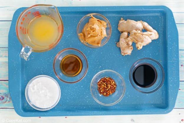 Thai peanut sauce ingredients on a tray