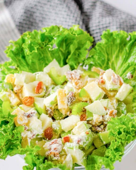Waldorf Salad in a lettuce-lined bowl