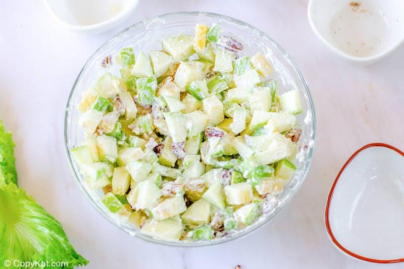freshly tossed Waldorf salad in a bowl