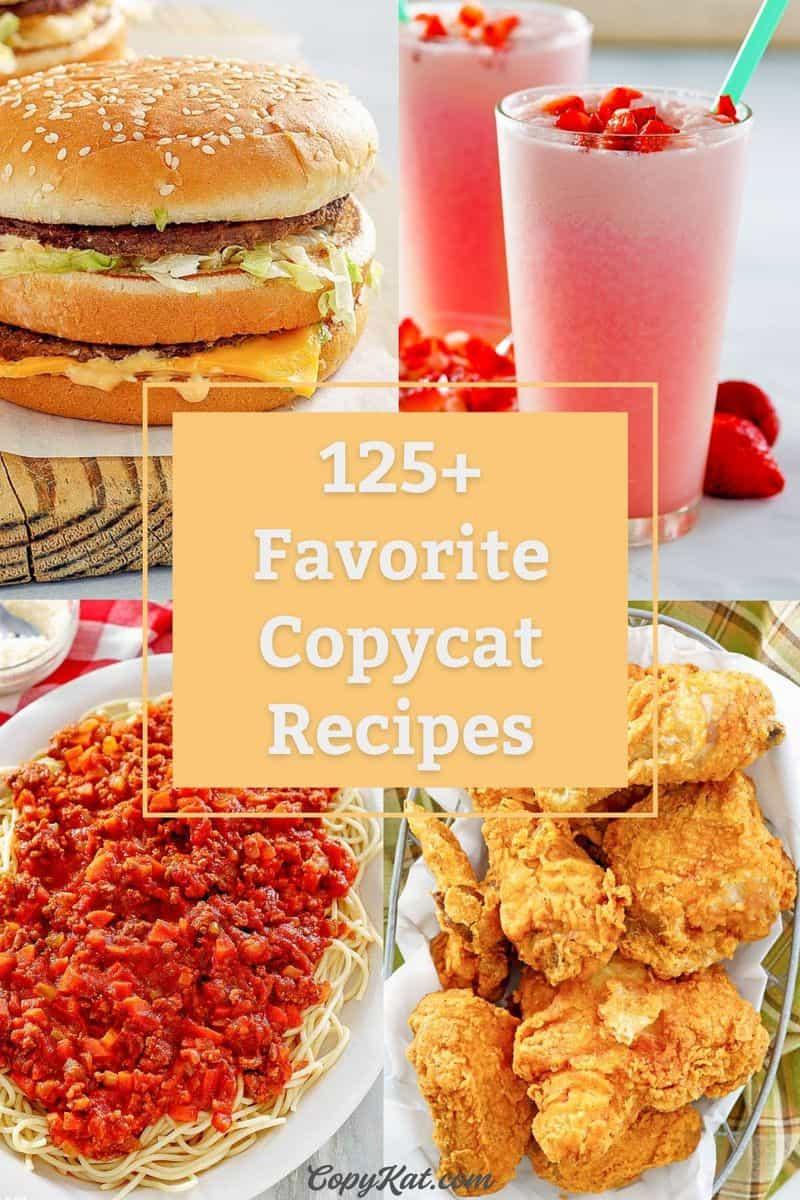 collage of copycat McDonald's Big Mac, Starbucks Pink Drink, Olive Garden Bolognese, and Cracker Barrel Fried Chicken