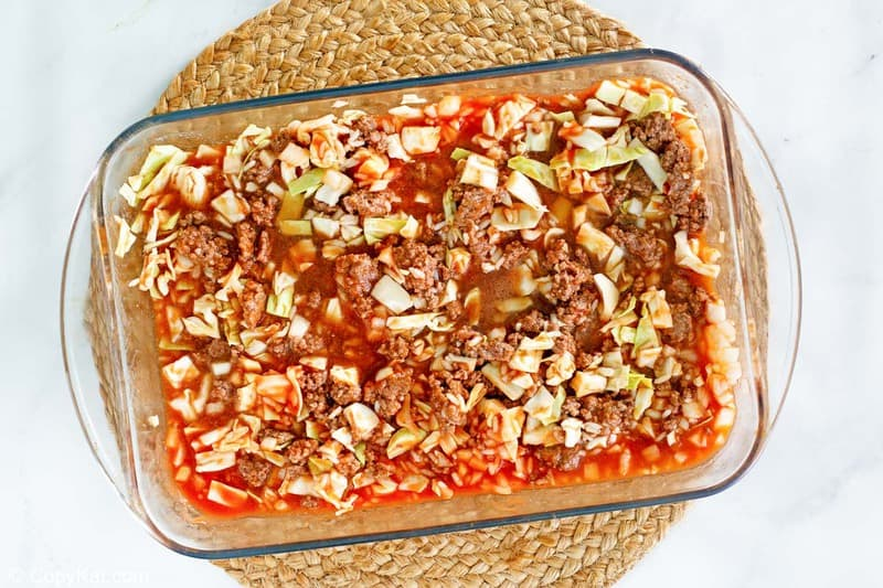 cabbage roll casserole in a dish before baking.