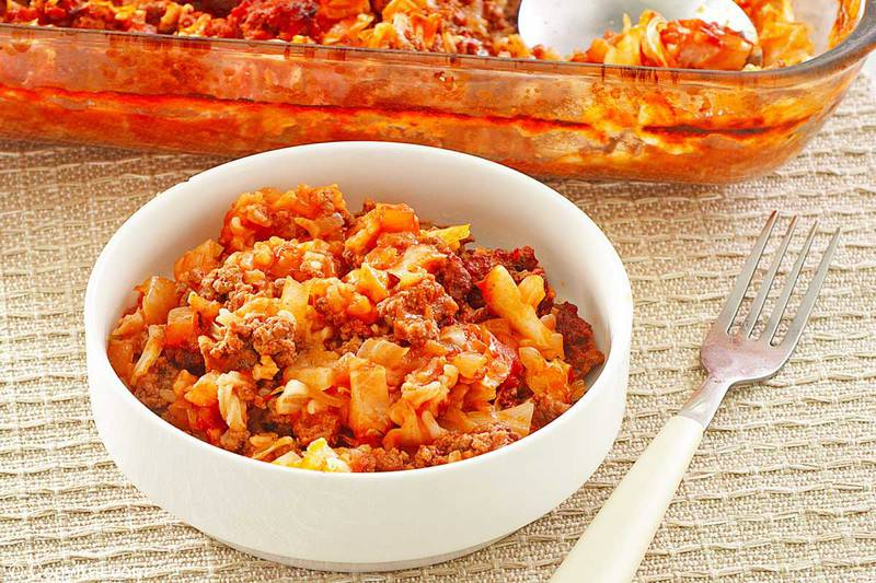 cabbage roll casserole in a bowl and a fork.
