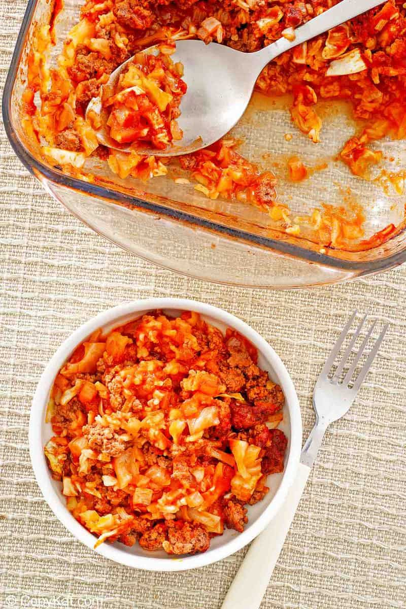 overhead view of cabbage roll casserole in a baking dish and bowl.