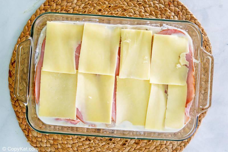 chicken cordon bleu casserole before baking.