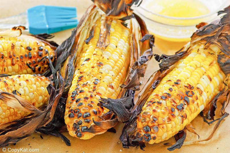 grilled corn on the cob and melted butter