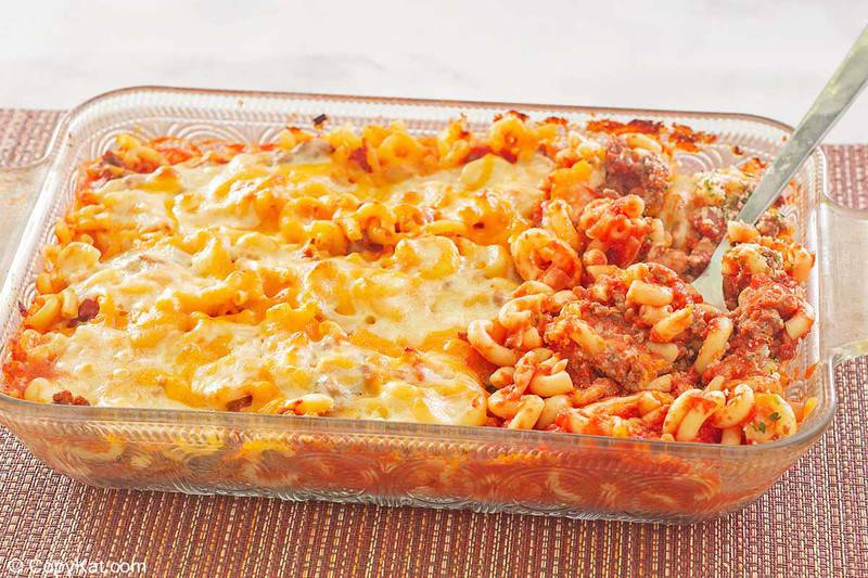 ground beef casserole in a glass baking dish.