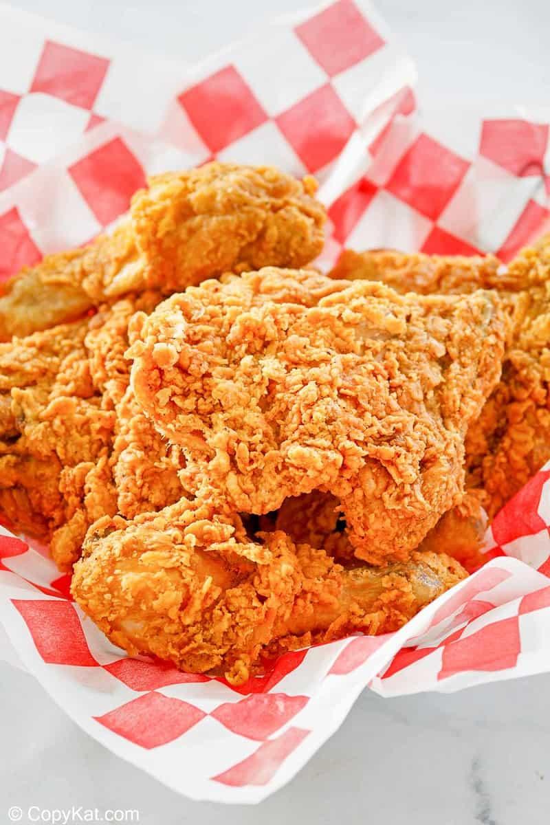 homemade KFC fried chicken in a serving basket